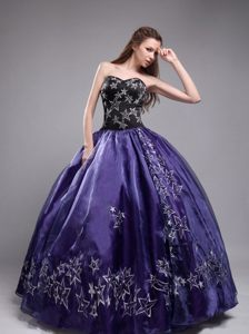 Dark Purple Ball Gown Sweetheart Quinceanera Dress with Appliques in 2014