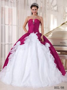 Fuchsia and White Beaded Quinceanera Dress in Organza and Taffeta