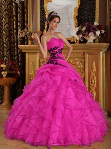 Cheap Hot Pink Sweetheart Organza Quinceanera Dress with Appliques