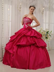Brand New Coral Red Taffeta Beaded Quinceanera Dress with Pick-ups