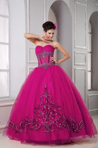 Fuchsia Sweetheart Floor-length Tulle Beaded Quinceanera Dress on Sale