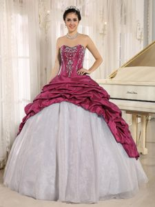 Luxurious Fuchsia and White Embriodery Quinceanera Dress with Pick Ups