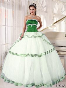 Strapless White and Green Layered Organza Quinceanera Dresses with Beading