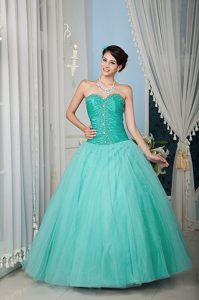 Perfect Turquoise Beaded Sweetheart Long Sweet Sixteen Dresses in Tulle