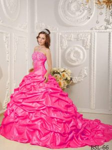 Beaded Bodice Strapless Taffeta Dresses for Quinceanera with Court Train
