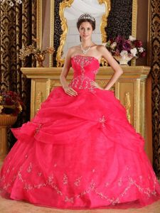 2013 Pretty Coral Red Strapless Floor-length Organza Dress for Quinceaneras
