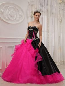 Black and Hot Pink Beaded Ball Gown Quinceanera Gown Dresses with Layers