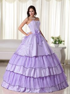 Strapless Ball Gown Lavender Taffeta and Organza Quinceanera Dress with Layers