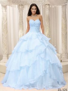 Hot Sale Sweetheart Light Blue Organza Quinces Dresses with Ruffle-layers