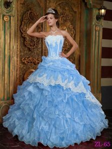 Popular Aqua Blue Organza Sweet Sixteen Dress with Appliques and Ruffles