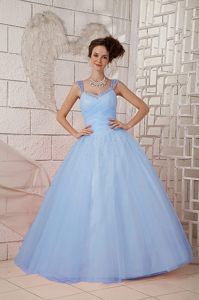 Light Blue V-neck Ruched Quinceanera Dress with Straps and Beadings 2010