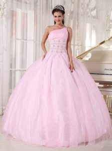 Baby Pink One Shoulder Floor-length Top Dresses for Quince in Tulle