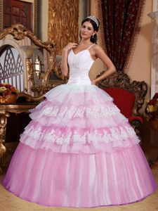 Pink Organza Sweetheart Quinceanera Gown Dresses with Spaghetti Straps