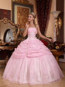 Strapless Organza Baby Pink Dresses for Quinceanera with Appliques for Cheap