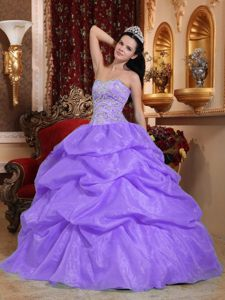 Lovely Corset Back Pick-ups Lilac Organza Quinceanera Dress under 200