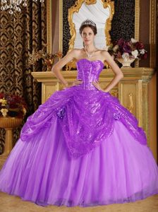 Trendy Sequin Tulle Ball Gown Dresses for Quinceanera in Light Purple