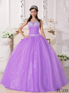 Beautiful Lavender Organza Quinceanera Gown Dresses with Appliques
