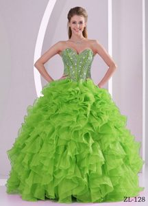 Irresistible Lime Green Sweetheart Quince Dress with Ruffles and Beading