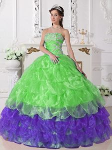 Multi-Tiered Spring Green and Purple Organza Appliques Quinceanera Gown