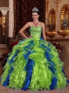 Exclusive Organza Sweetheart Two-toned Beading Quinceanera Dress Ruffled