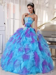 Sweetheart Appliqued Organza Blue and Purple Quinceanera Dresses with Flowers