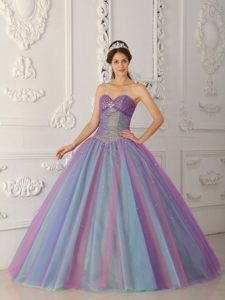 Lovely Sweetheart Floor-length Multi-colored Tulle Sweet 16 Dress with Beading