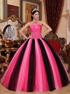 Beautiful Multi-colored Sweetheart Ball Gown Tulle Dress for Quince with Beading