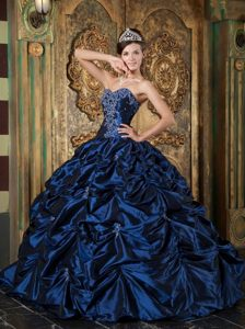 Navy Blue Ball Gown Sweetheart Taffeta Quinces Dresses with Picks-up