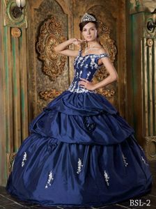 Navy Blue Floor-length Taffeta Appliqued Quinces Dresses Off The Shoulder