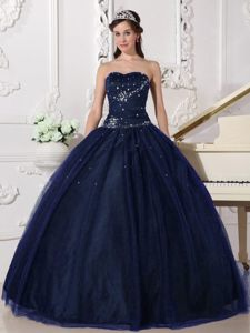 Sweetheart Floor-length Tulle Navy Blue Quinceanera Gown with Rhinestone