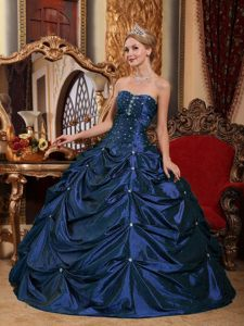 Strapless Floor-length Taffeta Beaded Quinceanera Gown Dresses in Royal Blue