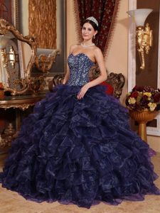 Navy Blue Sweetheart Floor-length Quinceanera Dress in Organza and Sequins