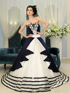 Navy Blue and White Strapless Court Train Quinceanera Dresses with Appliques