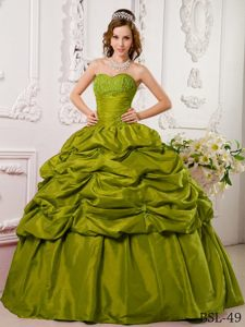 Beautiful Pick-ups Olive Green Sweetheart Taffeta Appliques Quince Dress