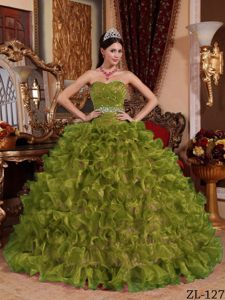 Flattering Olive Green Quinceanera Dress with Sweetheart Organza Beading