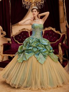 Taffeta and Tulle Olive Green Strapless Beading Quince Dress for Dance