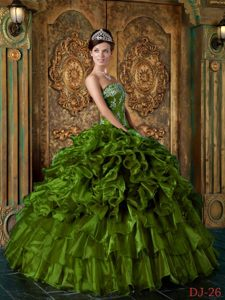 Strapless Organza Prom Quinceanera Dresses with Ruffles in Olive Green