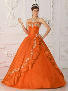 Orange Red Sweetheart Quinceanera Dresses with Embroidery and Beading