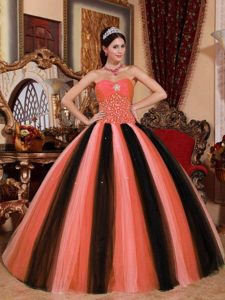 Multicolor Ball Gown Sweetheart Tulle Beaded Quinceanera Dress in 2015