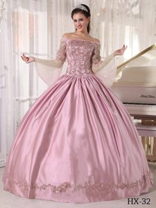 Baby Pink Ball Gown off the Shoulder 2013 Quinceanera Dress with Appliques