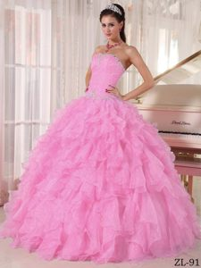 Baby Pink Ball Gown Strapless Quinceanera Dresses with Beading and Layers