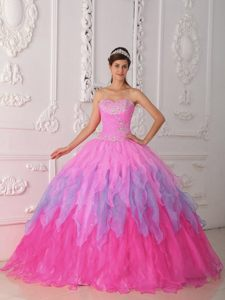 Vintage Pink Organza Ruched Quinceanera Gown Dress with Beading