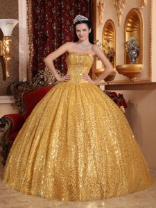 Most Popular Sequin Gold formal Sweet 15 Dresses Floor-length for Sale