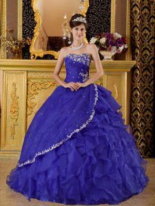 Special Style Appliqued Ruffled Blue Organza Quinces Dresses Ball Gown