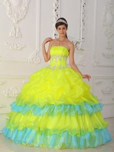 Yellow Strapless Floor-length Organza Beaded Quinceanera Dresses with Ruffles
