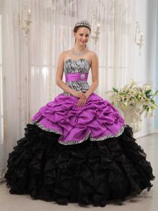 Brand New Fuchsia and Black Ball Gown Quinceanera Dress with Sweetheart