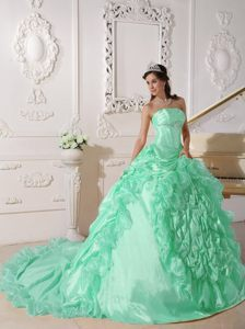 Strapless Chapel Train Taffeta Beaded for Quince Dresses in Apple Green