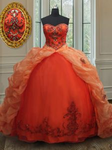 Perfect Sweetheart Sleeveless Quinceanera Gowns With Brush Train Beading and Embroidery and Pick Ups Orange Red Organza