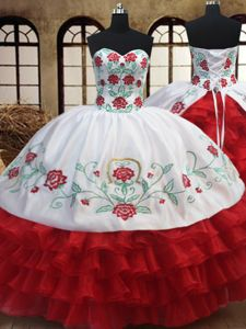 Ruffled Floor Length White and Red Sweet 16 Dress Sweetheart Sleeveless Lace Up