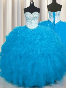 Discount Court Train Baby Blue Ball Gowns Beading and Pick Ups 15th Birthday Dress Lace Up Organza Sleeveless Floor Length